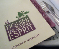 Menu at Le Figuier de Saint-Esprit